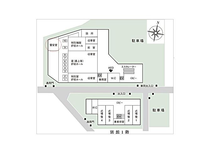 落合斎場の館内図